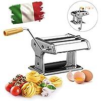 Relaxdays Pasta Eléctrica 14x 36x 18,5cm, Acero, Cromado, W/Clamp, Máquina de Fideos Manual, Color Plateado