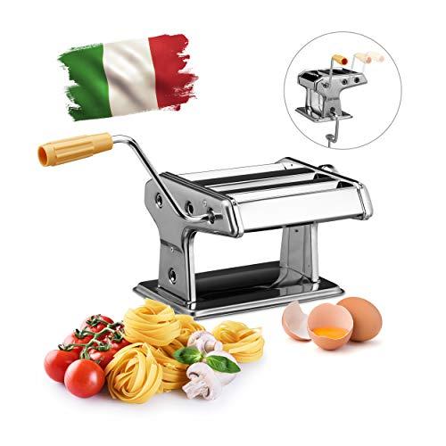 Relaxdays Nudelmaschine HBT 14 x 36 x 18,5 cm Pasta-Maker aus Edelstahl für Zuhause manuelle...