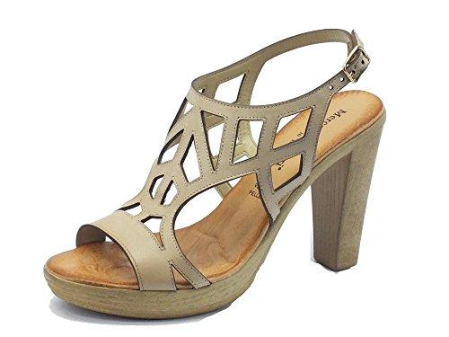 Sandali per donna Mercante di Fiori in pelle colore corda tacco alto (Taglia 37)
