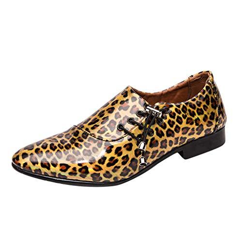 FNKDOR Schuhe Herren Jugend Persönlichkeit Lederschuhe Lackleder Gold 42 EU Leopard Gelee Seite Schnürung Tunnelzug Mode Gut Aussehend Fit Geschäft Casual Nachtclub Bankett -