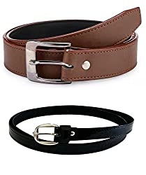 Shara Men's and Women's PU Leather Belts Set of 2 Combo (Brown & Black)