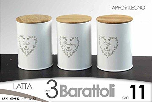 Gicos TRIS SET 3 PZ BARATTOLI H15 CM LATTA TAPPPO LEGNO SALE ZUCCHERO CAFFè SSN 699542