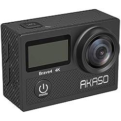 AKASO Caméra Sport Etanche 4K WiFi 20MP Action Cam Sportive Stabilisateur Ultra HD Écran LCD Grand Angle 170 Degrés EIS 30M sous Marine 2 Batteries 1050mAh Télécommande Kits d'Accessoires - Brave 4