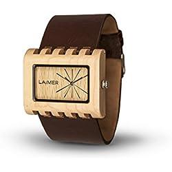 LAiMER Holzuhr 0024 | 100% Ahornholz | mit Lederband | Naturprodukt | Südtirol |federleicht | allergikerfreundlich | nachhaltig | angenehmer Tragekomfort |