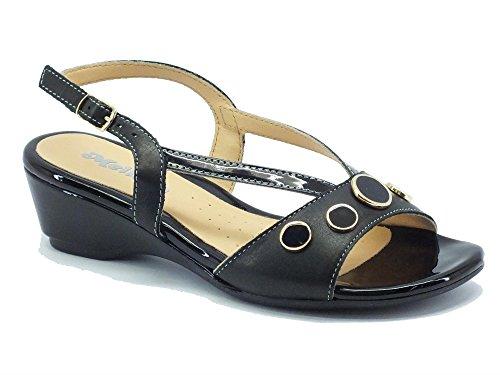 Sandalo elegante Melluso per donna in pelle nera Nero