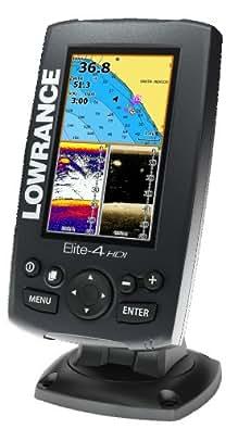 Lowrance Elite-4 HDI Appareil multifonction GPS combiné traceur de cartes/sondeur/Hybrid Dual Imaging avec capteur 83/200/455/800 kHz