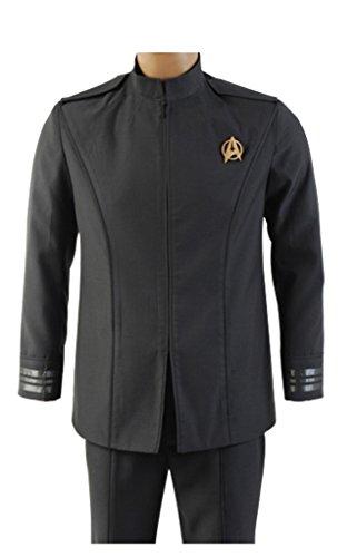 Elecos Star Trek Into Darkness Captain Kirk Cosplay Kostüm Geschäftsanzug Karneval Herren Schwarz XL (Star Trek Into Darkness Kostüm)