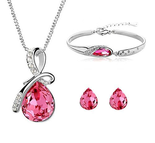 Crunchy Fashion Combo Jewellery/jewelry Gift Set Crystal Pendant Necklace Set With Earrings And Bracelet Gifts for Girls & Women