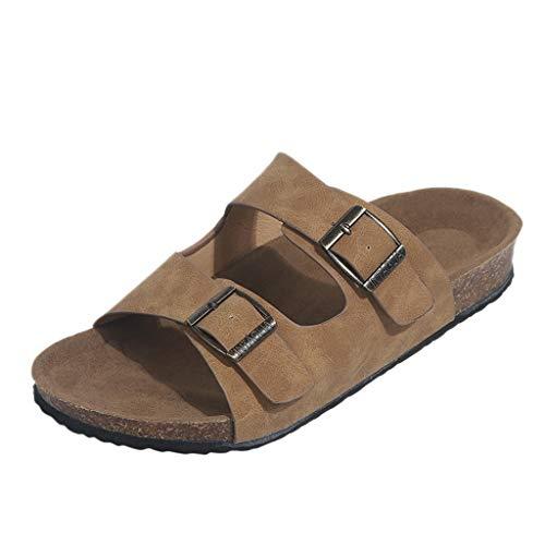 (Yvelands Damen Sandalen Strand Sandalen aushöhlen beiläufige Hausschuhe Flats SchuheKhaki39)