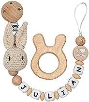 RUBY - Chupetero Personalizado para Bebe con Nombre, Figura Crochet Conejo, Bola de Silicona Antibacteriana y