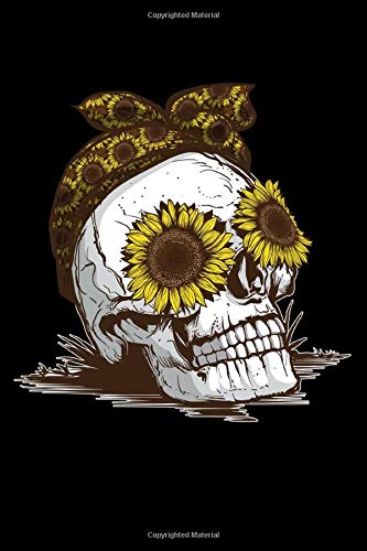 Journal: Women's Skull Sunflower Floral Halloween Flowers Black Lined Notebook Writing Diary - 120 Pages 6 x 9 (Halloween-y Dia De Muertos)