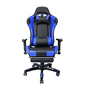 41zvP1r9%2BaL. SS300  - HG-Silla-de-oficina-Silla-de-carreras-Silln-ejecutivo-Reposabrazos-tapizados-premium-Capacidad-de-carga-200-kg-Ergonmico-Silla-de-oficina-ejecutiva-ajustable-negra-azul