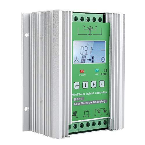 ASHATA Hybrid Solar Wind Laderegler,MPPT Solarladeregler Windladeregler mit LCD Display,Wind Solar Hybrid Controller über Geschwindigkeit Überspannung Soft Automatikbremsschutz Wind 600W(JW2480)