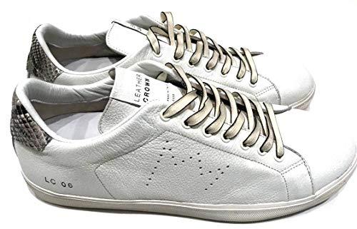 Leather Crown Men Shoes MLC06 Bianco in Pelle E Pitone Misura 39