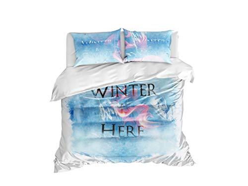 Cool Bedding Game of Thrones Bettdeckenbezug, Winter is Coming Bettwäsche Queen Set 3-teilig, Bettdeckenbezug 240x220cm 1 St. Kopfkissenbezuege 80x80cm 2 St.
