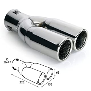 Akhan ER026 - Edelstahl Doppelrohr Auspuffblende universal 2x 225x63mm d=36-47