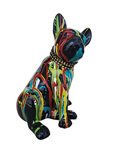 Laure TERRIER Statua di Cane Bulldog Francese, Modello Black Drip, Altezza 20 Centimetri. Decorazione