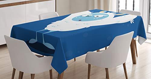 ABAKUHAUS Bigfoot Tischdecke, Wildes Scary Yeti Kostüm, Für den Inn und Outdoor Bereich geeignet Waschbar Druck Klar Kein Verblassen, 140 x 170 cm, Mehrfarbig
