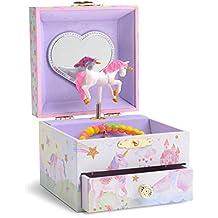 JewelKeeper - Caja Joyero Musical con Unicornio Arco Iris y Estrellas de Lentejuelas, Equipado de