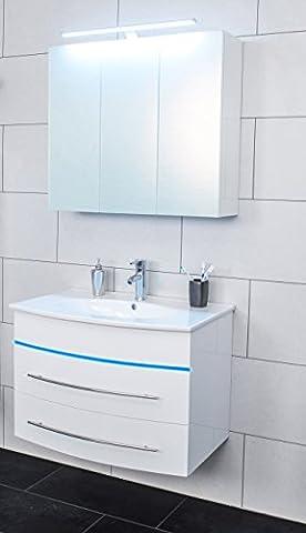SAM® 2tlg. Design Badmöbel-Set, 80 cm, Hochglanz weiß, LED-Beleuchtung in Blau, Bad-Set mit Softclose-Funktion, 1 Waschplatz mit Keramikbecken und 1 Spiegelschrank