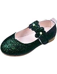 89fd4abde5 feiXIANG Scarpe Ballerine Bambina Principessa con Paillettes Eleganti  Bambini Fiore Sandali Speciali Battesimo per la Festa