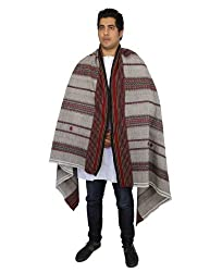 Embroidered Woolen Shawl Warm Wrap for Men Handcrafted in India