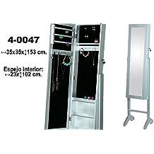 DonRegaloWeb - Espejo joyero de pie con puerta y llave de madera en color plateado