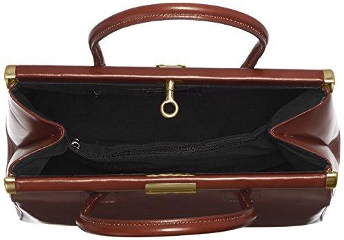 CTM Borsa da Donna, Bauletto Elegante con Manici e Tracolla in Vera Pelle, 35x28x16cm Marrone