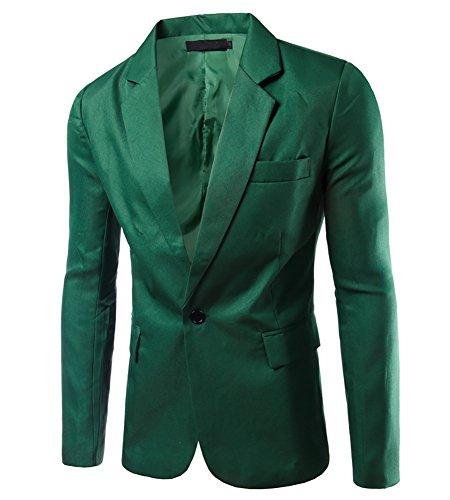 Uomo slim cappotti elegante blazer coat jacket giacca top outwear erba verde xl