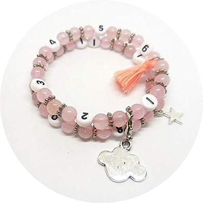 Bracelet d'allaitement perles de gemme quartz rose, bijou femme enceinte