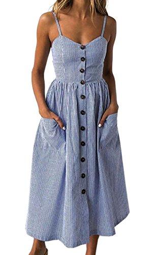 Angashion Damen V Ausschnitt Spaghetti Buegel Blumen Sommerkleid Elegant Vintage Cocktailkleid Kleider, Größe: M, Farbe: Navy Blau - Sommer-spaghetti-bügel-kleid