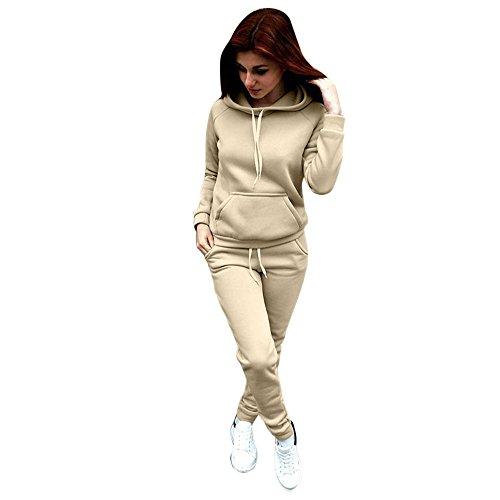 Vovotrade ☆☆Frau Overall Frau Kleidung Setzt Frau Lange Ärmel Sweatshirt Kapuzenpullover Bluse + Lange Keuchen Zwei Stück Ausstattung (Beige, Size:S) (Zwei Hosenanzug Stück)