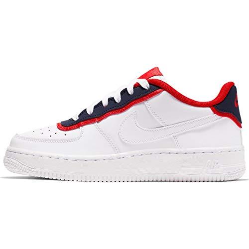 Nike Jungen Air Force 1 Lv8 1 Dbl Gs Basketballschuhe, Mehrfarbig White-Obsidian-University Red 101, 38 EU