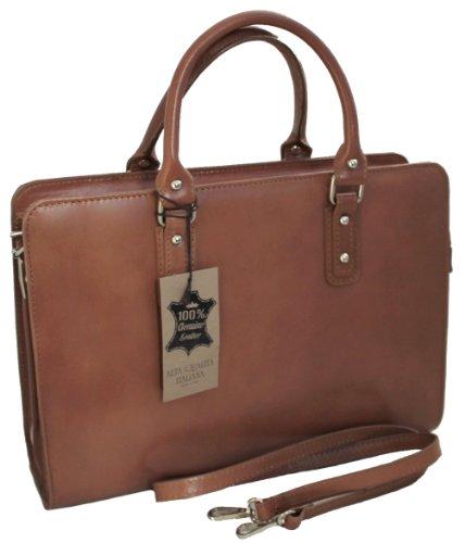 CTM Damen Tasche Handtasche von Arbeit, 36x27x11cm, 100% echtes Leder Made  in Italy ...