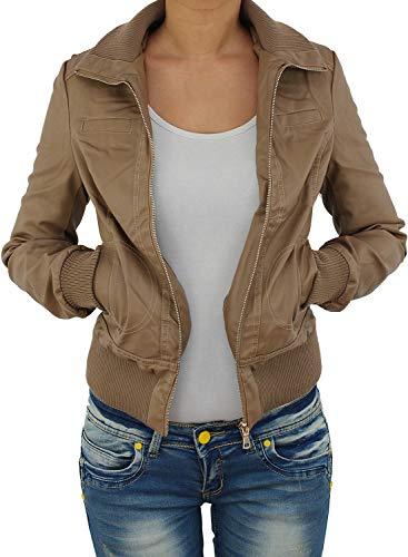 Sotala Damen Lederjacke Kunstlederjacke Leder Jacke Damenjacke Jacket Bikerjacke Blouson in vielen Farben S - 4XL Hellbraun 3XL - Leder-blouson