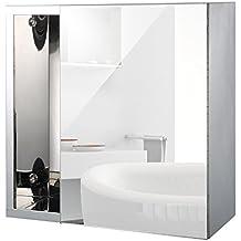 Homcom® Spiegelschrank Badspiegel Badschrank Hängeschrank Wandschrank mit Spiegel (Modell 6)