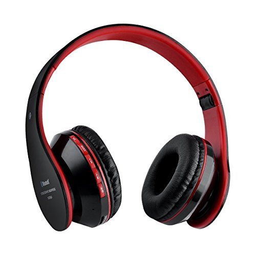 Cuffie bluetooth senza fili Aita BT809 stereo headphone cuffie Thor Pieghevole Auricolari Wireless 4.1 Over-Testa con Microfono per Iphone,Android e computer(Nero-rosso)