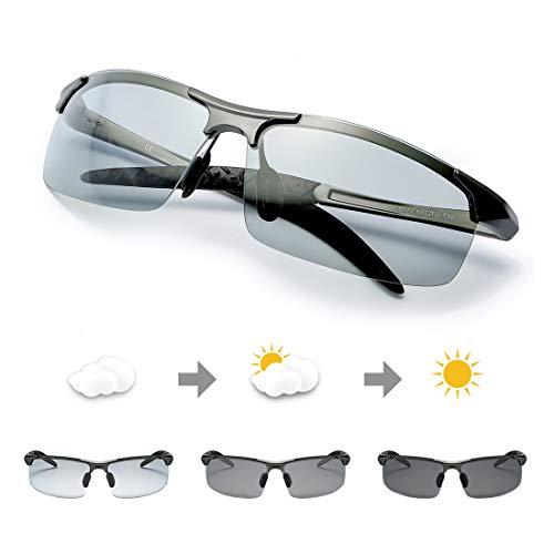 TJUTR Polarisierte Sonnenbrille Herren Photochromatisch Sports für100{f6a63ab08da5a4f7f97110e5c4c893e8888c45889b9b09366619845549a13910} UVA UVB Schutz Metallrahmen Leicht (Grau(sport)/Grau)