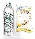 necon pet food SALMOIL ricetta 1 da 500 ml Piu 1 Omaggio Biscotti Premio Emy Fruit, Olio di Salmone Norvegese per Cani e Gatti fonte Naturale di acidi Grassi Omega 3, integratore Salmon Oil