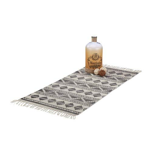 Relaxdays Teppichläufer mit Muster für Flur, Diele, Wohnzimmer, weicher Kurzflor Teppich groß in 70 x140 cm, schwarz -