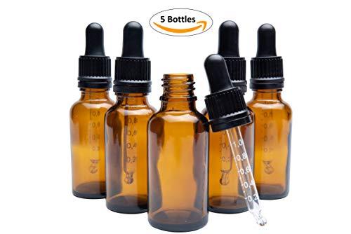 Tropfflaschen mit Pipette mit Skala, 30ml, Tropfflasche aus Glas, Augentropfen-Flasche, Öltropfflasche aus Glas, bernsteinfarbene Tropfflasche, Tropfflasche mit Skala, 5 Stück -