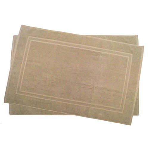 2er Pack 70 x 120 cm Julie Julsen Badvorleger in Premium Qualität 900 gm2 in aktuellen Farben und 4 Größen aus Baumwolle Badematte Badteppich Duschvorleger Design Doppel Rahmen Sand