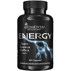 BIOMENTA ENERGY BOOSTER TABLETTEN VEGAN | mit TAURIN + GUARANA + KOFFEIN + GRÜNTEE + B-VITAMINEN + VITAMIN C + MAGNESIUM| PRE WORKOUT BOOSTER / TRAININGS BOOSTER | get more than Koffeintabletten | Für aktive Frauen & Männer