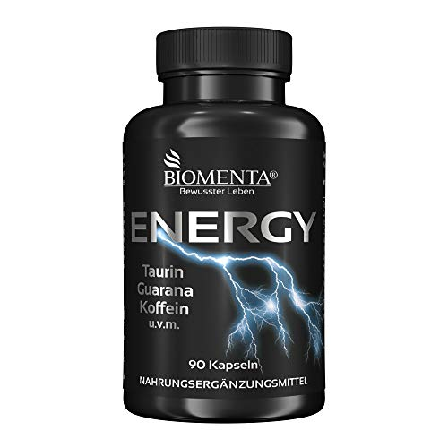 BIOMENTA ENERGY BOOSTER | AKTIONSPREIS!!! | mit TAURIN + GUARANA + KOFFEIN + GRÜNTEE + B-VITAMINEN + VITAMIN C + MAGNESIUM | VEGAN | PRE WORKOUT BOOSTER/TRAININGS BOOSTER | 90 Koffeintabletten