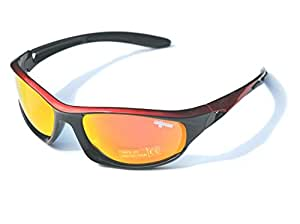 Red & Black Ladgecom Polarised Sports Sunglasses with Revo Lens and Hard Case
