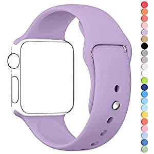 Apple Watch Band, HuanlongTM Soft Silicone Sport Style Replacement Iwatch Strap for Apple Wrist Watch (Purple 42mm S/M)