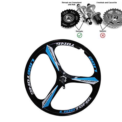 JARONOON MTB Llanta 24/26 Pulgadas Ruedas de Bicicleta de Montaña 3 Radios Llantas de Aleación de Aluminio de Magnesio Llantas Tipo de Soporte Soporte de Liberación Rápida (Negro Azul, 26 Pulgadas)