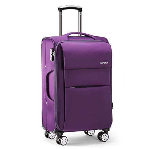Oxford Lila (YCYHMYF Universal-Trolley-Trolley Oxford-Stoffkoffer Reisegepäckkoffer für Männer und Frauen, die zum Einsteigen in das Fahrgestell zur Verfügung Stehen (lila 20 Zoll))