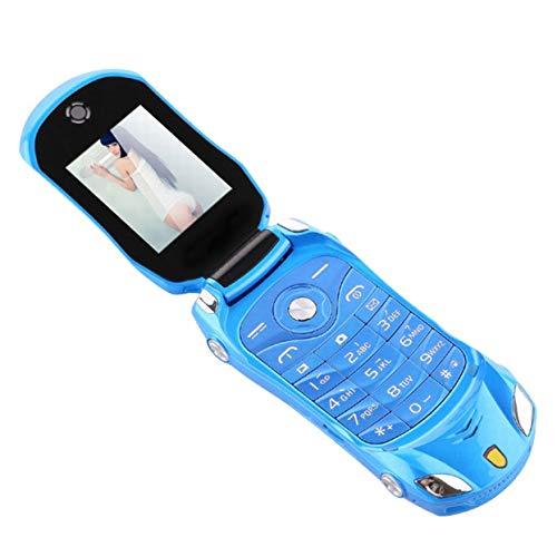 Tree-on-Life F15 entriegeltes Schlag-Telefon Doppel-SIM Minisportwagen-Modell Blue Lantern Mobile Cell Phone für Kinder (Flip-telefon Dual-sim)