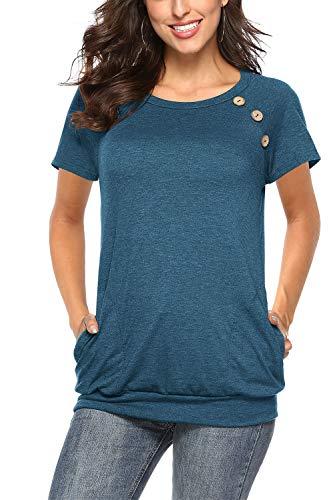 NICIAS NICIAS Damen Sommer T-Shirt Kurzarm Oberteil Shirt Lässige Schaltflächen Hemd Bluse Tunika Top mit Taschen Marine S